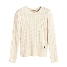 Burberry Chunky Cable Knit Sweater White