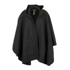 Burberry Jacquard Hooded Cloak Charcoal