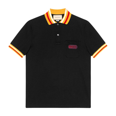 Gucci Logo Patched Polo Tee Black