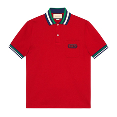 Gucci Logo Patched Polo Tee Red