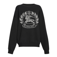 Burberry Crest Merino Wool Blend Jacquard Sweater Black