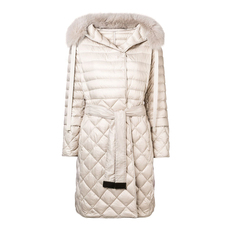 S Max Mara Quilted Puffer Hooded Down Coat Beige