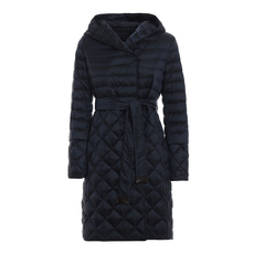 S Max Mara Quilted Puffer Hooded Down Coat Dark Blue