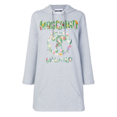 Moschino Floral Print Logo Hoodie Dress Grey