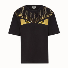 Fendi Gold Stud Bag Bugs Eyes T-Shirt Black