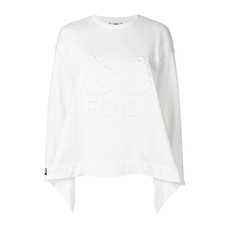 Fendi Debossed Logo Flared Sweatshirt White