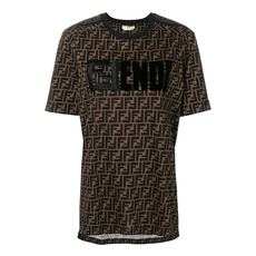 Fendi Logo Pattern Printed T-Shirt Brown