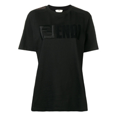 Fendi Logo Embroidery T-Shirt Black