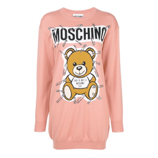 Moschino Safety Pin Teddy Sweater Dress Pink