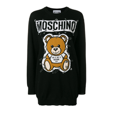 Moschino Safety Pin Teddy Sweater Dress Black