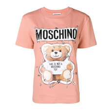 Moschino Safety Pin Teddy T-Shirt Pink