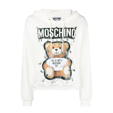 Moschino Safety Pin Teddy Hoodie White