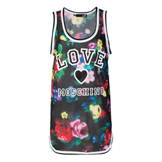 Love Moschino Floral Print Logo Sleeveless Top Black