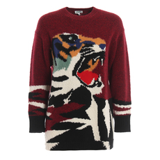 Kenzo Tiger Intarsia Melange Sweater Red