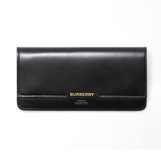 Burberry Horseferry Embossed Leather Long Wallet Black