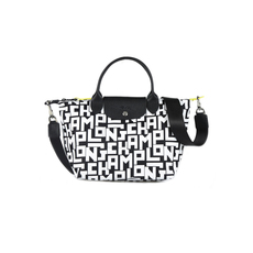 Longchamp Small Satchel Le Pliage LGP Tote Bag Black/White