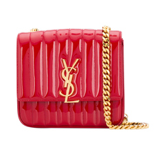 Yves Saint Laurent Medium Vicky In Matelassé Patent Leather Crossbody Bag Red