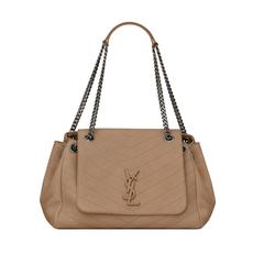 Yves Saint Laurent Medium Nolita In Vintage Leather Shoulder Bag Dark Taupe