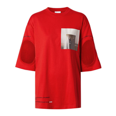 Burberry Cut-Out Detail Montage Print Oversized T-Shirt Bright Red