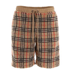 Burberry Vintage Check Faux Shearling Drawcord Shorts Archive Beige