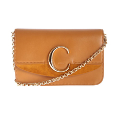 "Chloe ""C"" Clutch With Chain Crossbody Bag Autumnal Brown"