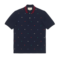 Gucci Symbols Embroidery Polo Tee Navy