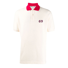 Gucci Gg Embroidery Polo Tee White