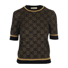 Gucci Gg Wool With Gold Lamé Sweater Black/Gold