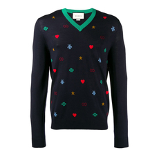 Gucci Contrasting Motif Sweater Dark Blue