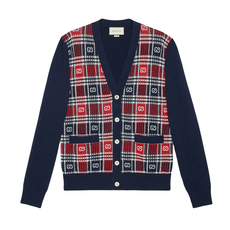 Gucci Gg Check Cardigan Dark Blue