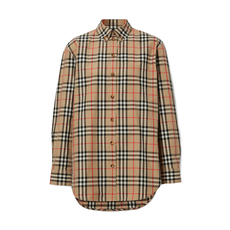 Burberry Button-Down Collar Vintage Check Shirt Brown