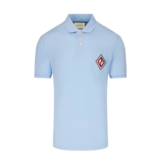 Gucci Embroidered Logo Patch Polo Tee Light Blue