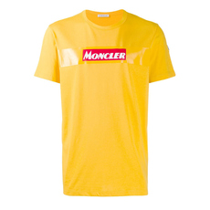 Moncler Felt Logo T-Shirt Yellow
