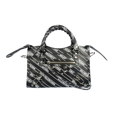 Balenciaga Logo Print City Mini Crossbody Bag Black/White