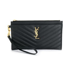 Yves Saint Laurent Monogram Large Bill Clutch Bag Black