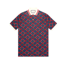 Gucci Oversize Printed Polo Tee Red/Blue