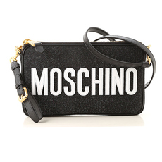 Moschino Logo Print With Glitter Effect Crossbody Bag Black