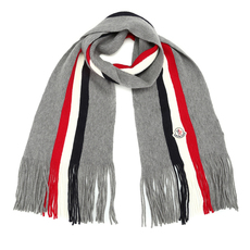 Moncler Fringed Tri-Stripe Scarf Grey