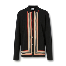 Burberry Icon Stripe Trim Cardigan Black
