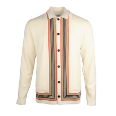 Burberry Icon Stripe Trim Cardigan Natural White
