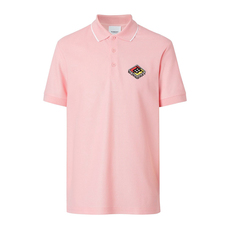 Burberry Logo Graphic Cotton Piqué Polo Tee Candy Pink