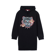 "Kenzo ""Passion Flower"" Tiger Hoodie Dress Black"