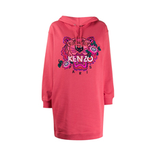 "Kenzo ""Passion Flower"" Tiger Hoodie Dress Fuchsia"