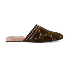 Gucci Gg Logo Print Crystal Trim Women's Slip-ons Brown