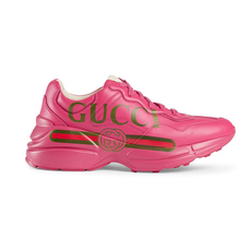 Gucci Rhyton Gucci Logo Leather Women's Sneakers Pink