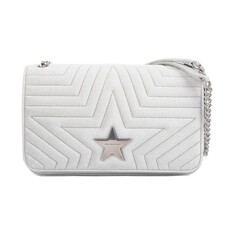 Stella Mccaryney Star Medium Flap Shoulder Bag Silver