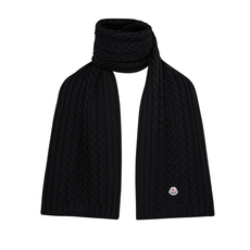 Moncler Five-Gauge Felt Logo Scarf Black