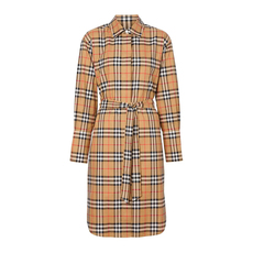 Burberry Vintage Check Cotton Tie-Waist Shirt Dress Antique Yellow