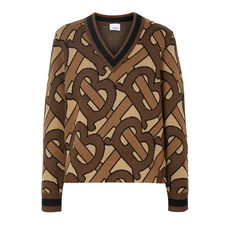 Burberry Monogram Intarsia Wool V-Neck Sweater Bridle Brown
