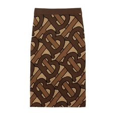Burberry Monogram Intarsia Wool Pencil Skirt Bridle Brown